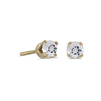 14k Gold White Topaz Screwback Post Earrings--Substitute April Birthstone