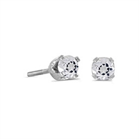 14k White Gold White Topaz Screwback Post Earrings--Substitute April Birthstone