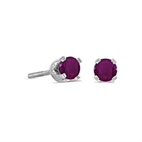14k White Gold Ruby Screwback Post Earrings--July Birthstone