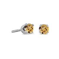 14k White Gold Citrine Screwback Post Earrings--Substitute November Birthstone