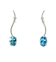 14k White Gold Post Dangle Earrings- Blue Topaz & Diamond