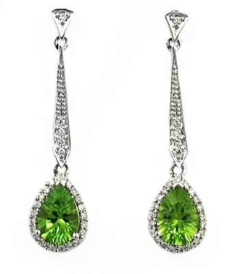 14k White Gold Post Dangle Earrings- Peridot & Diamond