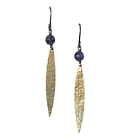 Hammered Petal Leverback Earrings- Labradorite