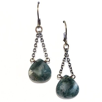 Moss Agate Dangle Earrings