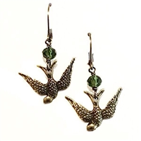 Olive Crystal Dangle  Earrings