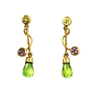 14k Gold Post Earrings- Peridot & Amethyst