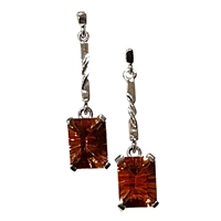 14k White Gold Post Dangle Earrings- Orange Topaz