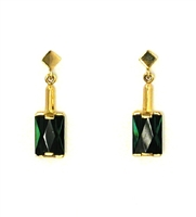 14k Gold Post Dangle Earring- Green Tourmaline