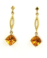 14k Gold Post Dangle Earrings--Citrine