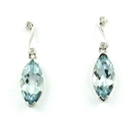 14k White Gold Post Dangle Earrings-  Aquamarine & Diamond