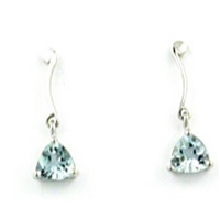 14k White Gold Post Dangle Earrings-  Aquamarine