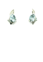 14k White Gold Post Earrings-  Aquamarine