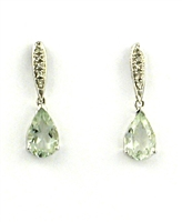 10k White Gold Post Dangle Earrings- Green Amethyst & Diamond