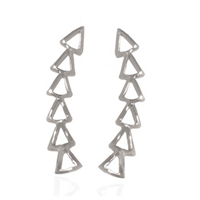 Sterling Silver Ear Climbers - Six Triangles