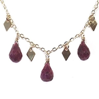 Gold Filled Necklace- Genuine Ruby