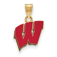 "University of Wisconsin-  Small Red Enamel ""Motion W"" - Gold Plated"