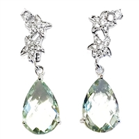 Sterling Silver Green Amethyst & Cubic Zirconia Post Dangle Earrings