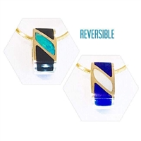 14k Gold Pendant/Slide-Australian Opal & Black Jade reverses to Lapis & Mother of Pearl