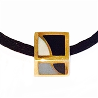 14k Gold Pendant- Mother of Pearl & Black Jade