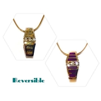 14k Gold Reversible Slide- Sugilite, Gold Quartz & Diamonds