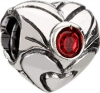 1/2 price- Chamilia Bead -January Birthstone Heart-Retired