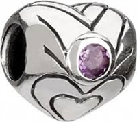 1/2 price- Chamilia Bead -February Birthstone Heart-Retired