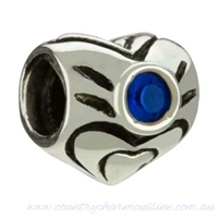 1/2 price-Chamilia Bead-September Birthstone Heart-Retired