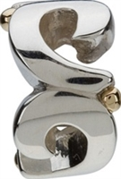 1/2 price-Chamilia Bead-Silver Swirls-14k Accents-Retired