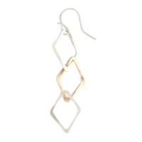"Sterling Silver & Gold Filled ""Triple Diamond"" Earrings"