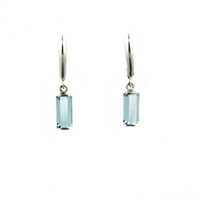 14k White Gold Leverback Earrings-  Aquamarine