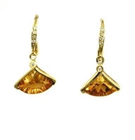14k Gold Leverback Earrings- Citrine & Diamond