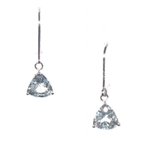 Sterling Silver Leverback Earrings- Aquamarine- March Birthstone