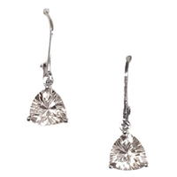 Sterling Silver Leverback Earrings- White Topaz