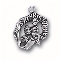 Sterling Silver Charm-St. Christopher Medal