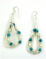 Liquid Silver & Turquoise Earrings