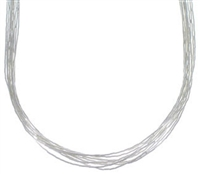 "24"" Liquid Silver Necklace-10 Strands"
