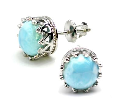 Sterling Silver Screwback Post Earrings- Larimar