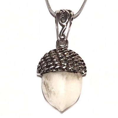Sterling Silver Acorn Pendant- Fossilized Walrus Tusk