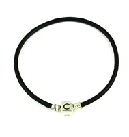 Original CHAMILIA Bracelet-Black Leather 7.9 Inches