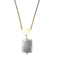 "Grey Agate Necklace- ""Triangle Pose"""