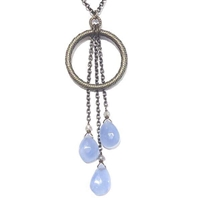 Long Blue Chalcedony Necklace with Grey Moonstone