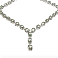 Sterling Silver Necklace-Green Amethyst