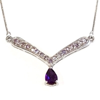 Sterling Silver Necklace- Amethyst & Tanzanite
