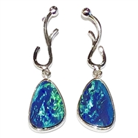 Sterling Silver Post Earrings- Australian Black Opal Doublet