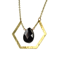 Black Onyx Hammered Hexagon Necklace