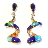 Bronze Post Dangle Earrings- Lapis & Opal Inlay