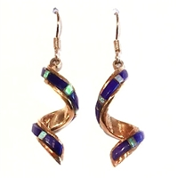 Bronze Dangle Earrings- Lapis & Opal Inlay
