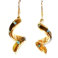 Bronze Dangle Earrings- Tiger Eye & Opal Inlay
