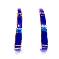 Bronze Post Earrings- Lapis & Opal Inlay