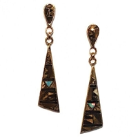 Bronze Post Dangle Earrings- Tiger Eye & Opal Inlay